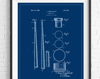 Baseball Bat Patent Print, Vintage Patent Art, Baseball Gifts, Baseball Decor, Baseball Art, Baseball Print, Patent Poster, Boys Room Art
