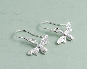 Little Bee Earrings, sterling silver, bumble bee earrings