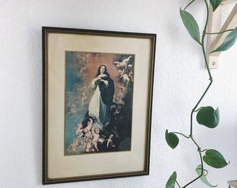 Vintage Immaculate Conception Print in Wooden Frame