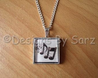Music Glass Pendant Necklace