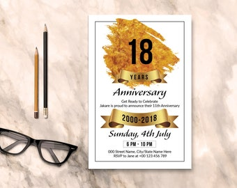 Anniversary Invitation Flyer Template   Photoshop & Elements Template, Instant Download