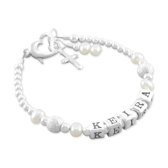 Baby Charm Bracelets: Baptism Bracelet Baby Christening Pearl Name Jewelry Cross