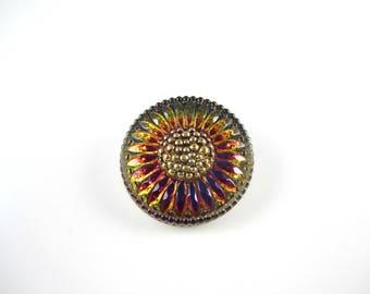 Blue Yellow Vitrail Daisy Czech Buttons Blue Czech Glass Buttons Yellow Flower Button Vitrail 27mm (1 pc) 53BV3