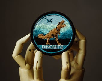 Dinomite Patch | Sew on | Embroidery | Patches for Jackets | T-Rex Patch | Jurassic Park Patch | Tumblr Patch | Back Patch | Custom Patch