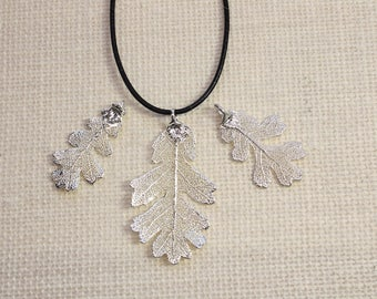 SALE Leaf Necklace, Vintage Leaf, Silver Lacey Oak Leaf, Silver Leaf, Real Oak Leaf, Boho Necklace, Silver Leaf Pendant, SALE177