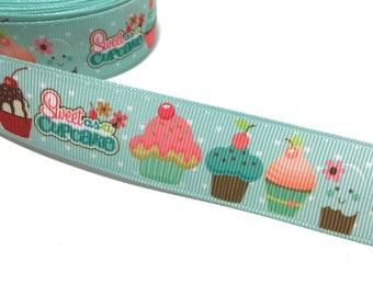 """1"""" Sweet as Cupcake Ribbon, Cupcakes Grosgrain Ribbon, Sweets Desserts Ribbon, Cupcakes Printed Ribbon"""