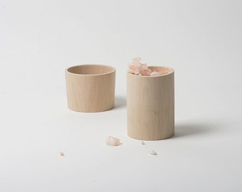 Wooden box turned from hornbeam wood handmade, kitchenware, cooking, food container, space box