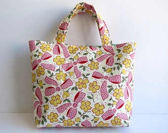 Women's Handbag, Tote Bag, Handmade Bag, Contains Pocket & Magnetic Button Closure, Pink and Green Bag, Cute Gift for Teenage Girl or Woman
