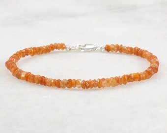 Delicate Sunstone Bracelet for Women, Sterling Silver, Gold Filled, Delicate Gemstone Beaded Stacking Bracelet, Sunstone Jewelry, Natural