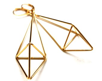 Gold Dangle Earrings. Long Geometric Earrings. Triangle Pyramid Earrings. Women's Earrings. Gift for Wife / Mother