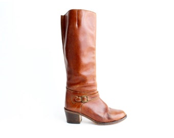 size 6.5 - 7  | Vintage Supple Leather Riding Boots | Brown Leather Knee High Boots | 37 - 37.5