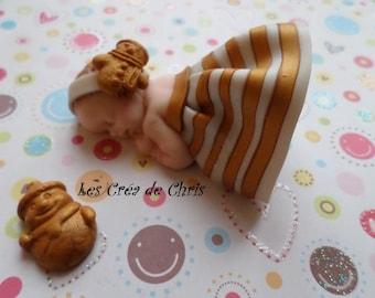 baby girl or boy Christmas theme polymer clay.