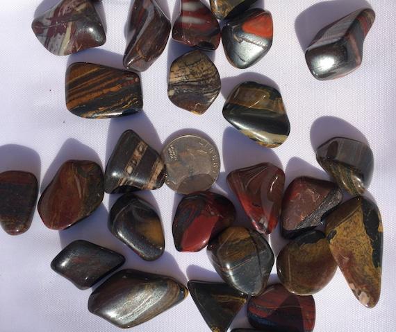 Beautiful Tumbled MUGGLE STONE Healing Gemstone// Muggle Stone// Tumbled Stones// Healing Crystals// Healing Tools// Hematite + Jasper