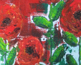 Poppy painting, red floral painting, Poppy field painting, textural poppies, mixed media poppies, red orange poppies, acrylic poppies