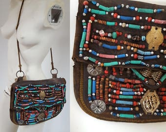 antique Leather Beaded Moroccan Berber Hand Embroidered Nomad Purse