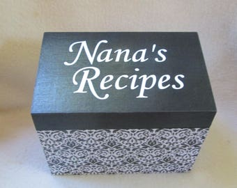 Recipe Box, Recipe File Box, Custom Recipe Box, Kitchen Storage, 4X6 or 5X7 Recipe box, Wooden Recipe Box, Personalized Recipe Box, Gift