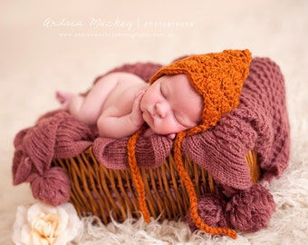 Newborn Bonnet Photography Prop / Newborn Girls Knit Hat