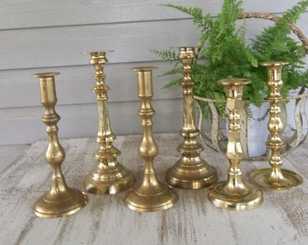 6 Vintage Brass Candle Holders Brass Candlesticks Rustic Lighting Wedding Decorations Table Decor Candlesticks French Country Farmhouse SET