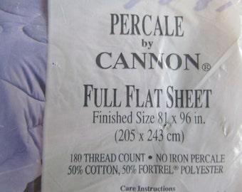 Jubilee  Cannon  Percale  Full Flat Sheet  solid white  NIP