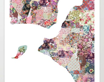 Anchorage map AK | Anchorage Painting | Anchorage Art Print | Anchorage Poster | Alaska map  | Flowers compositions