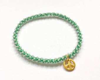 Stackable golden peace yoga charm bracelet Anahata (heart chakra)