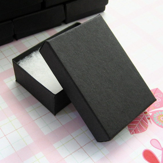 10 Matte Black Cotton Filled Jewelry Boxes High Quality 3 18 x 2 1