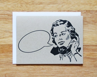 Retro Lady Word Bubble Greeting Card