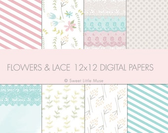Flowers and Lace Digital paper - digital scrapbook paper - 12x12 in digital paper