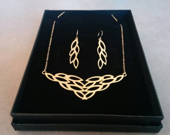 Gold Jewelry Set, Bridal Jewelry, Gold Necklace, Gold Earrings, Jewelry Set, Grecian Jewelry, Leaf Earrings, Leaf necklace, Leaves Necklace