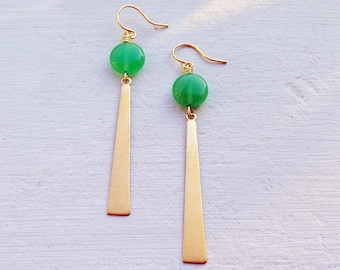 Green Jade Earrings/Boho Earrings/Bohemian Earrings/ Boho Chic/Long Gold Earrings/Gifts For Her/Coin Earrings/Lightweight Earrings