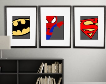 Modern super hero wall prints, PRINTED, PICK 3 8x10 inch prints, shipped to your door