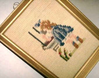 Vintage Little Girl Blue Needlepoint Vintage Design Finished Picture Original Wood Frame with Paper Sealed Back Collectible Needlepoint Gift