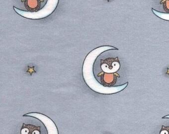 Nursery Flannel Fabric - Woodland Owls - 3/4 Yard