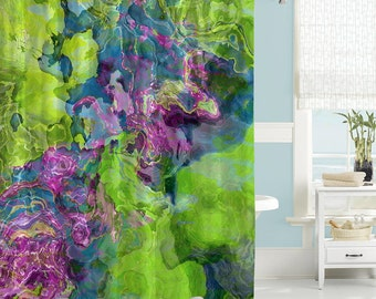 Contemporary Shower Curtain, Abstract Art Bathroom Decor, Purple, Blue And Green  Shower Curtain