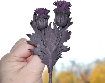 brooch thistle Leather flower grey lila Fairytale gift brooch leather thistle leather anniversary Scottish gift leather brooch thistle