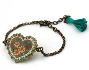 Art Deco Heart Resin Tassel Bracelet Friendship Bracelet Love Bracelet Delicate Bracelet Charm Chain Gold Aqua Yellow Shrink Plastic Jewelry