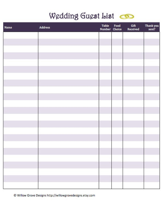 Items Similar To Wedding Guest List Organizer  Instant Download On Etsy