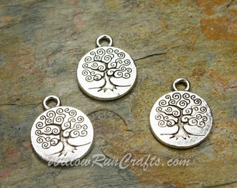 10 15mm Antique Silver Plated Charms Tree of Life Charm for Bracelet and Necklace  (07-13-236)