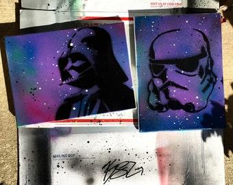 Star Wars Darth Vader Stormtrooper Galaxy Painting Art Canvas Disney