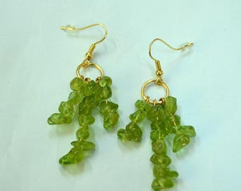 Gold filled and gemstone peridot gold hook earrings