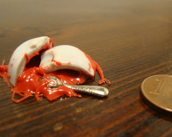 miniature bowl, with, tomato sauce , upside down, and broken 1/12 scale
