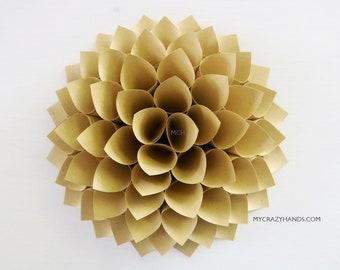 kraft paper dahlia || 10'' dahlia wall decor | wedding flower || origami gifts | nursery wall decor | bridal shower backdrop -olive yellow