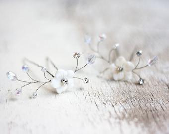 Crystal hair pins Bridal Hair Pins Flower hair pins Mother of Pearl Hair Pins Bridal hair accessory Rhinestone hair pin Bridal hair pin 81