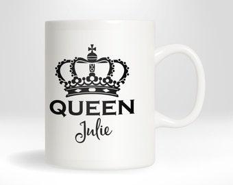 Queen Personalized Coffee or Hot Chocolate Mug, 11 oz Ceramic Coffee Mug, 15 oz Ceramic Coffee Mug, Custom Monogrammed Mug, Personalized Mug