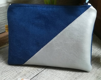 """""""Blue and silver"""" suede pouch"""