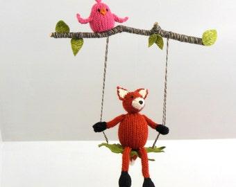 Fox Baby Mobile, fox hanging nursery mobile, Woodland Nursery Decor, Bird Baby Mobile, Woodland Nursery, Woodland mobile, knit orange fox
