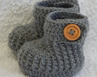 Baby Booties, Baby Shoes, Grey Boots, Newborn Boy, Crochet Girl Booties CHOOSE COLOUR and SIZE