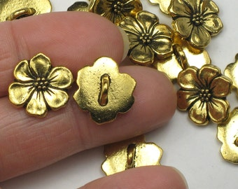 Apple Blossom Buttons, 2+ TierraCast Antiqued Gold Plated Pewter, 15mm Lead Free Bracelet or Necklace Hook