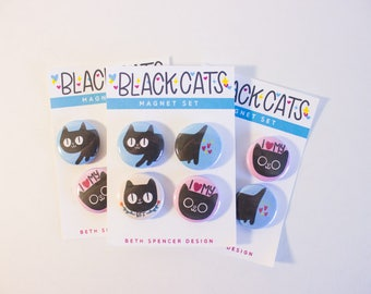 Black Cat Magnets / Black Cat / Cat Magnets / Black Cat Gift  / Cute Cat /  Cat Lover Gift / Gift for Cat Lady / Cat Stocking Stuffers