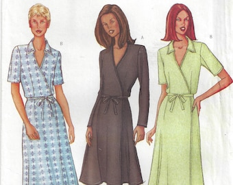 Wrap A-Line Dress V Neck Short/Long Sleeves Flared Fitted Side Ties Very Easy & Fast  Butterick 3078 size 12-14-16 Bust 34-36-38